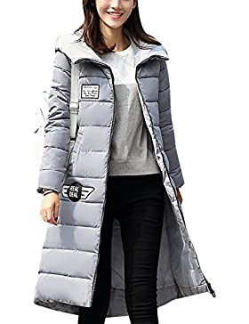 LaoZan Mujer Outerwear Espesar Abrigo largo Abrigo de abrigo de invierno Chaqueta con capucha Small Gris