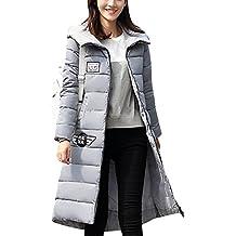 LaoZan Mujer Outerwear Espesar Abrigo largo Abrigo de abrigo de invierno Chaqueta con capucha X-Large Gris