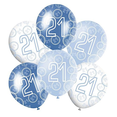 21st Mixed Blue White Glitz Boys Classy Happy Birthday Anniversary Special Occasion