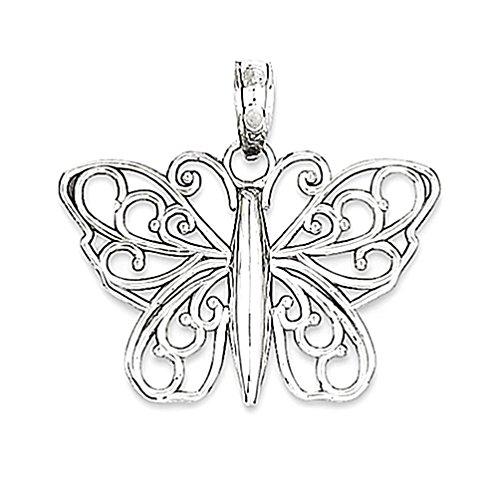Oro bianco 14k lucido pendente della farfalla