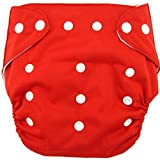 #1: N&M Cloth Diaper REUSABLE Nappy Organic Cotton Anti Bacterial Washable Free Size Adjustable WaterProof Covered 0-2 Years - Red