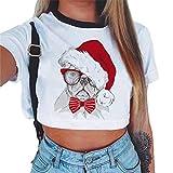 Baijiaye Femme Manches Courtes T-Shirt Crop Tops Eté Respirant Impression Tee Shirt Lâche Navel Exposé Occasionnels Pull T-Shirt Pattern#6 M