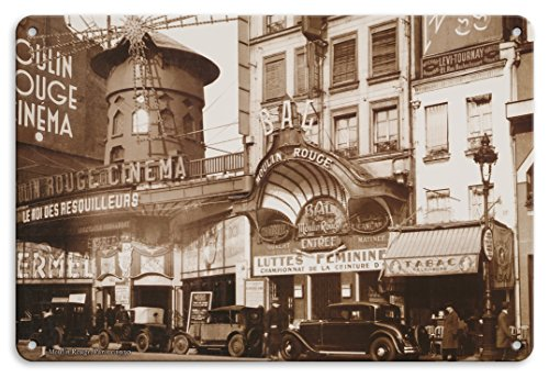 Pacifica Island Art 22cm x 30cm Vintage Metallschild - Moulin Rouge Theater und Kino - Paris, Frankreich - Vintage Retro Kabarett Casino Plakat c.1930s Theater Moulin Rouge