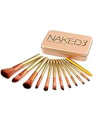 12pcs / set pinceau de maquillage Set pinceaux de maquillage Set cosmétiques synthétiques Fondation Blending fard à joues Eyeliner Poudre Pinceau de maquillage Kit de brosse (or)
