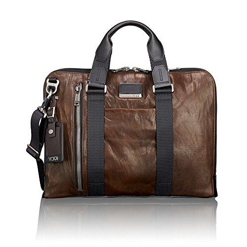 "Tumi Alpha Bravo - Aviano Slim Brief 15"", Leather Maletín, 40 cm, 4.58 liters, Marrón (Dark Brown Leather) Tumi"