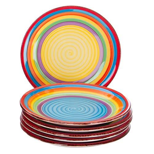MamboCat 6-tlg. Teller-Set Ibiza | Kuchenteller Rund | Ø 19.5 cm | H 2.5 cm | Kleiner Dessert-Teller | Porzellan-Speiseteller | kunterbunte Regenbogen-Farben - Dessert-teller
