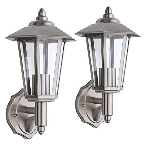 Biard en acier inoxydable Lanterne Murale Extérieure IP54 E27 – Lot de 2 ampoules à filament avec LED