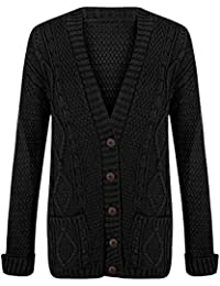 3c87b01911 New Ladies Women s Grandad Button Cardigan Chunky Boyfriend Knitted Cardigan