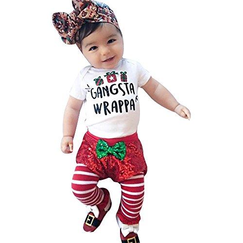 YanHoo Ropa para niños Conjunto de pantalón Corto Joker Christmas Letters Recién Nacido bebé niño niña Romper Tops + Pantalones Cortos Pantalones Trajes de Navidad Conjunto