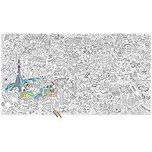 POSTER géant XXL à colorier thème PARIS : plongez au coeur de la capitale pour reconnaitre la Tour Eiffel, la Pyramide du Louvre, l'Arc de Triomphe, le Grand Palais, la Bibliothèque Nationale de France, la Cathédrale Notre-Dame de Paris, la Basilique du Sacré Coeur et encore plein d'autres… ils sont tous là !