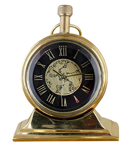 Antique Retro Vintage-Inspired Brass Metal Craft Table Clock Home Decoration -3 Inch