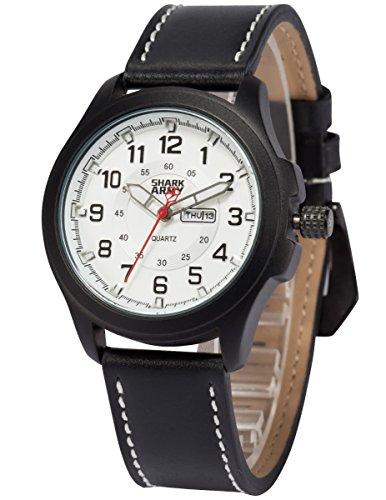 SHARK ARMY Herren Milit?r Quarzuhr Analog Leder Armband Sport SAW121