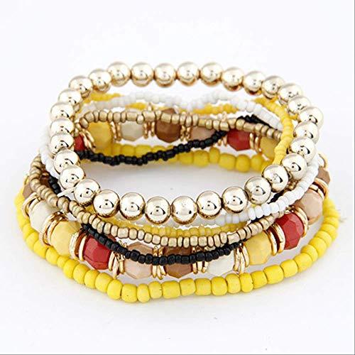 LYZH Heißer böhmen perlen perlen mehrstrang Stretch Armband Designer Armband pulseira armreifen für Frauen mädchen Geschenk gelb (Heiße Paare Kostüm)