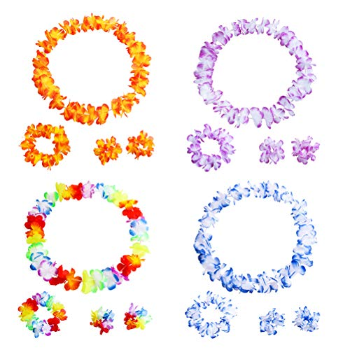 waiian Leis Tropische Blume Halskette Kranz und Armband Hawaiian Luau Beach Party Supplies ()