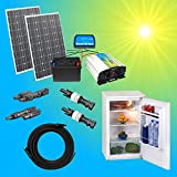 200W Solaranlage Kühlschrank Komplettpaket 220V TÜV Qualitäts 100Ah Akku wartungsfrei 2x 100W Hochleistung Solarmodul 1000W Qualitäts Spannungswandler