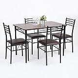 Modern comedor silla Juego Juego de mesa Grupo esstischgruppe Asiento Grupo comedor: Negro comedor 4Piel Sintética de silla blanca