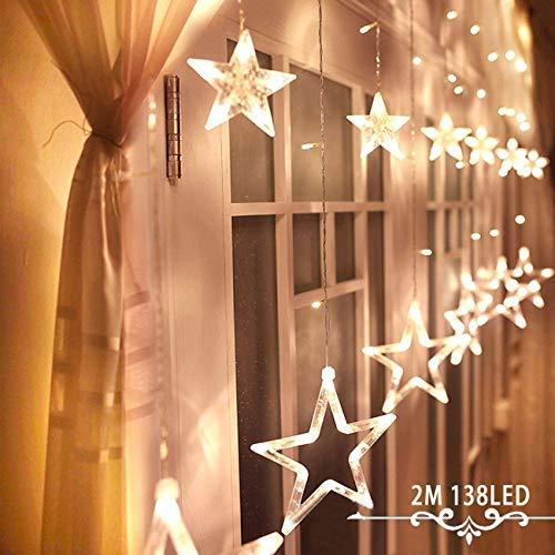 Avoalre lampada led di 12 stelle 138 lampadine catena luminosa alta sicurezza 8 modalità per decorazione camera casa festa matrimonio nozze compleanno natale bianco caldo