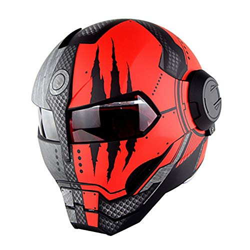 XYL Casco Moto Integrale omologato D.O.T Motocross Harley Maschera Casco Flip Open Iron Man Scooter Ghost Claw Casco Moto Superficie Opaca,Red,M