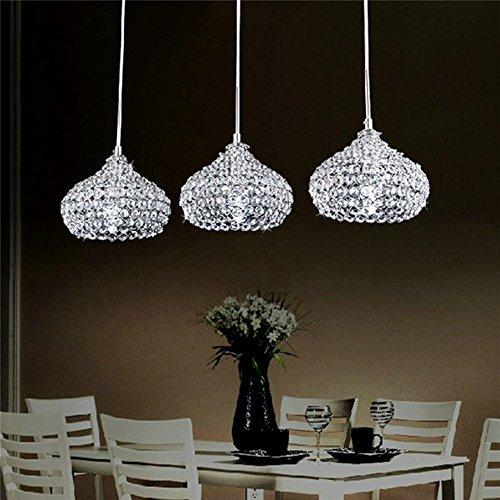 FEEKENBU Lampadario moderno a sospensione a 3 luci a soffitto per la cucina, con pendenti in cristallo
