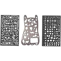 Conjunto de plantillas de metal número gato con muchos símbolos - Amupper Bullet Journal Planner Stencils Multifuncional Graffiti Doodle marcador de regla regalo para dibujo dibujo, paquete de 3