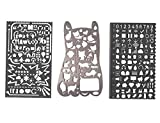 Modelli metallici impostare il numero di gatti con molti simboli - Amupper Bullet Journal Planner Stencil Graffiti multifunzione Doodle Bookmark Regalo righello per disegnare pittura, confezione da 3