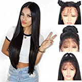 Andria Hair synthetische Spitzefrontseitenperücke gerade Haarperücke Lace Front Synthetic Wigs Long Straight Heat Resistant Hair Pre Plucked Wig with Baby Hair Bleached Knots for Women Black Hair 20