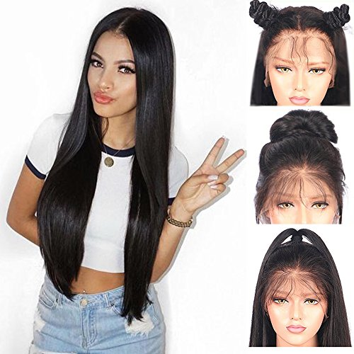 Full Lace Perücke (Andria synthetische Spitzefrontseitenperücke gerade Haarperücke Lace Front Synthetic Wigs Long Straight Heat Resistant Hair PrePlucked Hairline with Baby Hair Bleached Knots for Women Black Hair 26