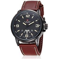 Gokelly Naviforce multifunción reloj de pulsera para hombre de caza de hombre a la moda sin moda cuarzo-reloj resistente al agua reloj de pulsera con correa de cuero movimiento