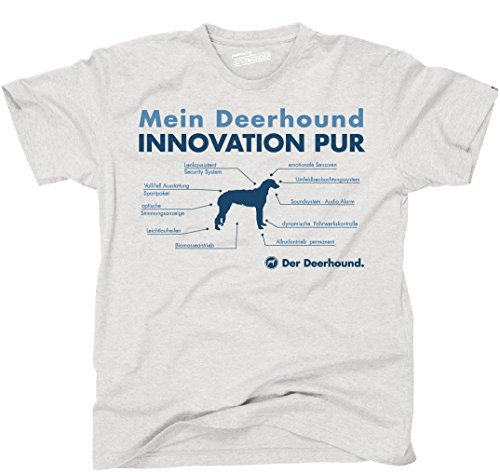 Siviwonder Unisex T-Shirt INNOVATION DEERHOUND TEILE LISTE Hunde lustig fun Ash