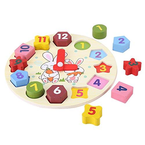 Kinder Puzzle Uhr Cartoon Kaninchen Puzzle Educational Holz Digitale Geometrie Uhr Spielzeug-Set