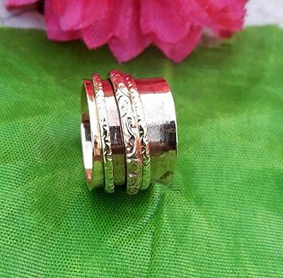 Spinner Band Rings, Bague Anxiété pour Meditaion, Bague cadeau pour Noël, Bague en argent Sterling 925, Bague Spinner pour femme,