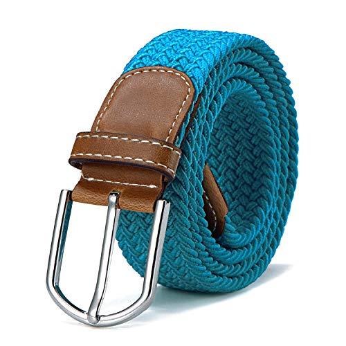 Stoffgürtel Stretchgürtel geflochten und elastisch Gürtel für Damen und Herren Länge 100 cm bis 130 cm türkis