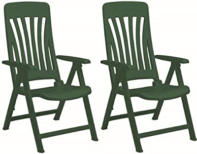 Resol Blanes Folding Multi-Position Garden Armchair - Green Plastic - Pack of 2 Chairs - inexpensive UK chair store.