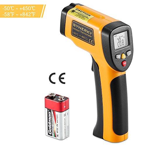 Termómetro infrarrojo láser sin contacto, Synerky Láser digital Pistola de temperatura IR con pantalla LCD retroiluminada HD -58 ℉ - 842 ℉ (-50 ℃ a 450 ℃)
