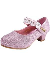 Chicas bonita vestido de fiesta bombas niña Zapatos de Mary Jane del Rhinestone del talón