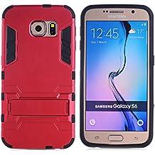 Para Samsung Galaxy S6 / G920 Funda Carcasa Case, Ougger Protector Extrema Absorci¨®n de Impacto [Stand Frame] Piel Armor Cover Duro Pl¨¢stico + Suave TPU Ligero Rubber 2in1 Back Gear Rear Rojo