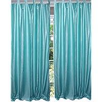 Mogul interior marroquí cortina azul Tab Top cortinas/Panel- par India ventana tratamiento (longitud: 108.)...