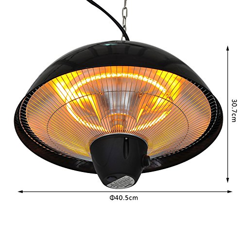 Outsunny 1500 W Outdoor Ceiling Mounted Aluminium Halogen Electric Hanging Patio  Heater Light With Remote Control U2013 Black