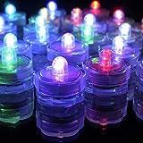 LMKIJN Decoración del hogar 12 x LED Sumergible A Prueba de Agua Boda/Fiesta/Navidad Decoración Floral Florero de té Batería de luz Velas - Cambio de Color (Color : Colorful, tamaño : 3 * 2.5)