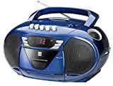Dual P 65 Blau Portable Boombox (UKW-Radio, CD-Player, Kassettenabspieler, AUX-In Audioeingang)