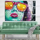 Hd Imprimer Graffiti Stree Art Femmes Visage Avec Lunettes De Soleil Huile Painng Sur...