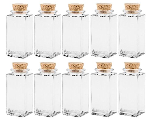 Gewürzgläser Set mit Press-korken | 10 teilig | Füllmenge 100 ml | Cub Eckig Hochwertiges Glas | Glasdose Glasgefäß ideal für Salz Pfeffer Sonnenblumenkerne kürbiskerne Kandis Bonbons Korkengläser