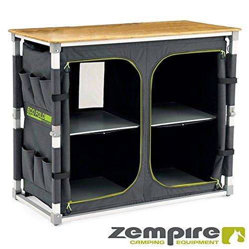 Zempire Design XXL Campingschrank mit Einer natürlichen und wetterfesten Bambusplatte, vollständig Faltbar + Extrem Robust, 4 Große Aufbewahrungsfächer