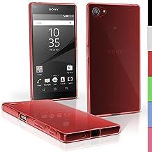 igadgitz Transparente Rojo Lustroso Funda Carcasa Gel TPU para Sony Xperia Z5 Compact E5803 Case Cover + Protector Pantalla