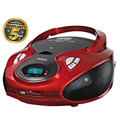 Idea Regalo - Lauson Lettore CD Portatile | Bambini Radio | Stereo Radio AM / FM | Boombox | USB | CD / MP3 Player | AUX IN | LCD-Display | CP429 (Rosso)