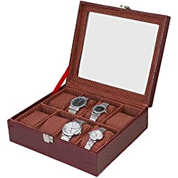 Designer Window Watch Case 8-Slot PU Leather Glass Display Top Organizer Box