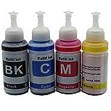 Tinta de Tinta, sin Nombre, 4 x 70 ML, para impresoras Epson de Inyección de Tinta, L350, L362, L366 y L550, L555, L566 y L800, L801, L805, L100, L110 y L120