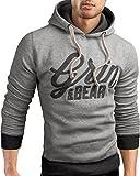 Grin&Bear Slim fit Signatur Logo Jacke Kapuze Hoodie Sweatshirt Kapuzenpullover, grau meliert, M, GEC469