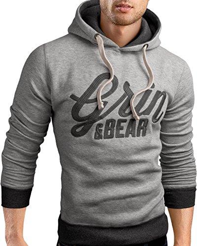 Grin&Bear slim fit Signatur Logo Jacke Kapuze Hoodie Sweatshirt Kapuzenpullover, grau meliert, M, GEC469 (Grau Hoodie Logo Sweatshirt)
