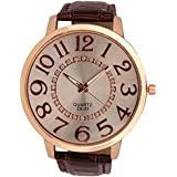 Sanwood Unisex Big Numerals Rhinestone Faux Leather Wrist Watch